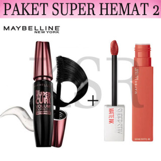 KSR- ( COD ) PAKET MAYBELLINE 2 IN 1 Maskara Maybelline Paket Make Up Mascara Maybelline Magnum +Lipstik Maybeline thumbnail