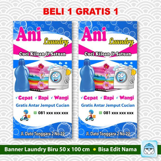 Banner Laundry Cucian Backdrop Beli 1 Gratis 1 Spanduk Lazada Indonesia