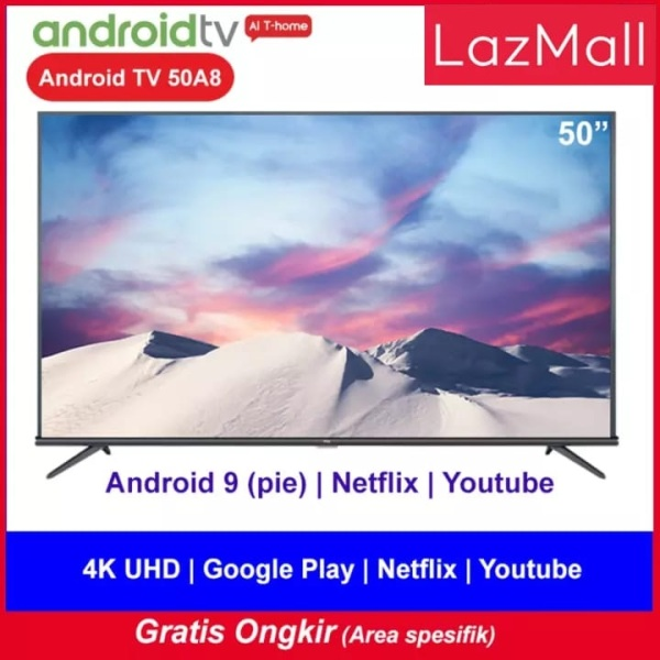 TCL 50 inch Smart LED TV - Android 9.0 - 4K Ultra HD - Google Voice/Netflix/YouTube - WiFi/HDMI/USB/Bluetooth Dolby Sound (Model : 50A8)R