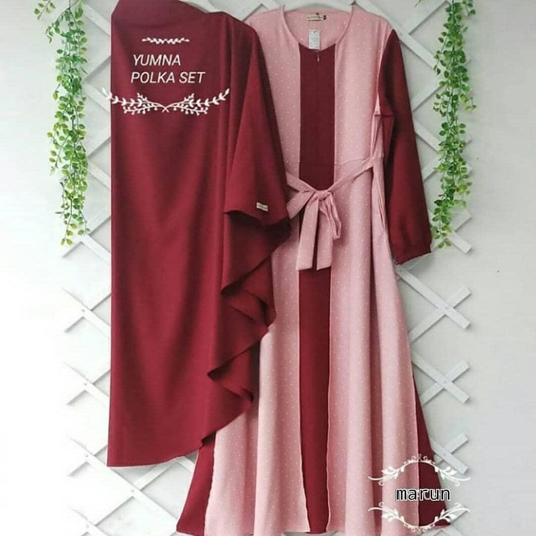 MT Yumna Polka Syari Set + Khimar Moscrepe Baju Wanita Muslim Panjang Gamis  Terbaru 2019 Supplier Pakaian Dewasa Bandung Murah Ootd Fashion Hijab  Terbaru ... 042cd63db0