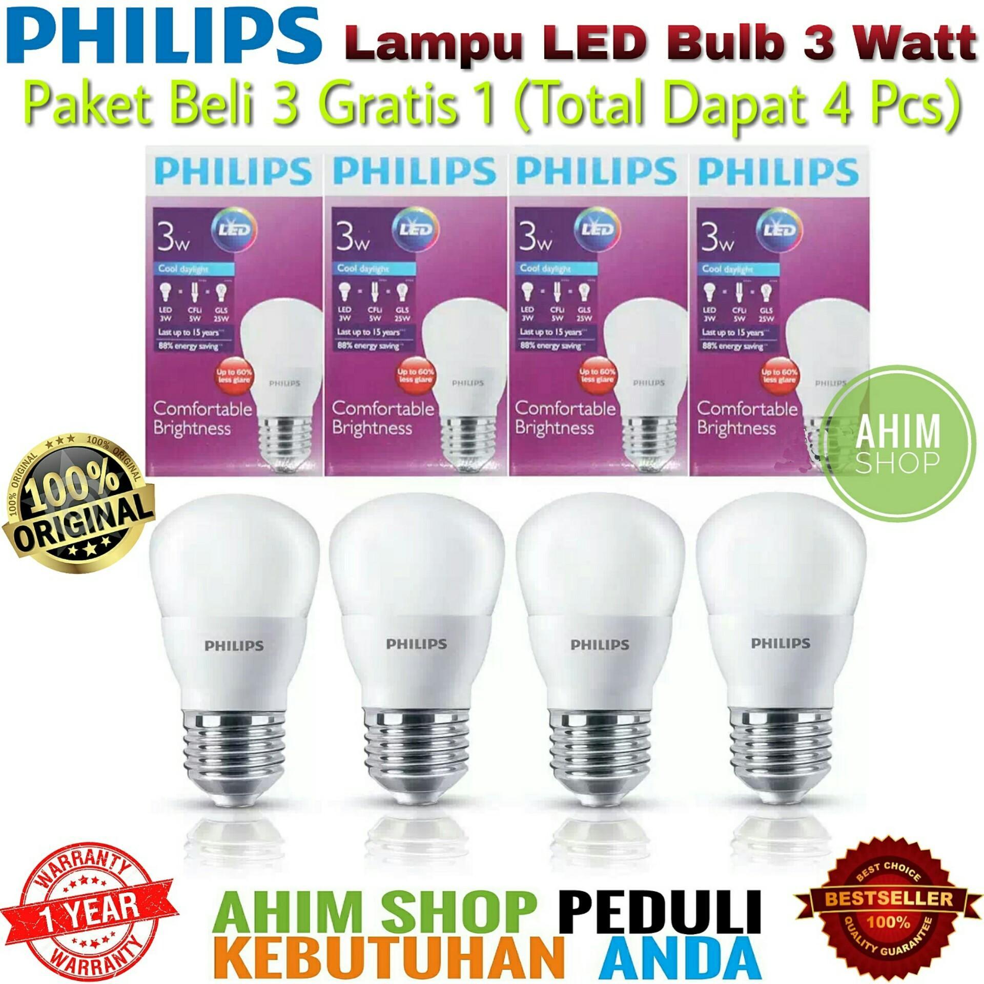 PHILIPS Lampu Led Bulb 3 Watt 3W 3Wat 3 W Putih Paket 4 Pcs - Cool Daylight (Putih)