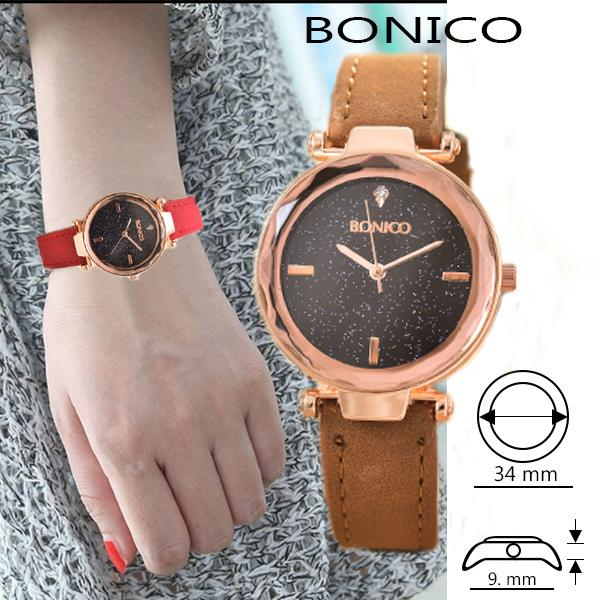 Bonico Jam Tangan Wanita – Body Rose Gold – Red Leather Strap - BNC—RG2943C-Red Leather StrapIDR39000. Rp 39.000