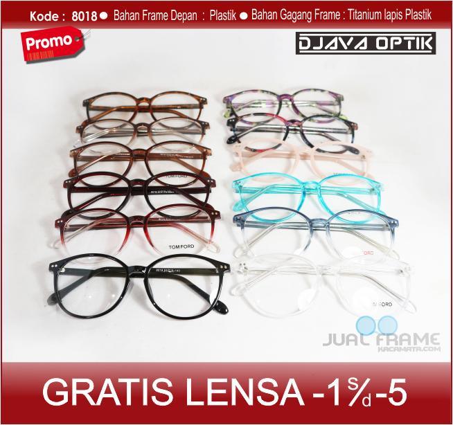 Frame Kacamata Bulat 8018 + Lensa Minus Plus Anti Radiasi Komputer Uv Hp wanita  Korea Cewek f27d7562f1