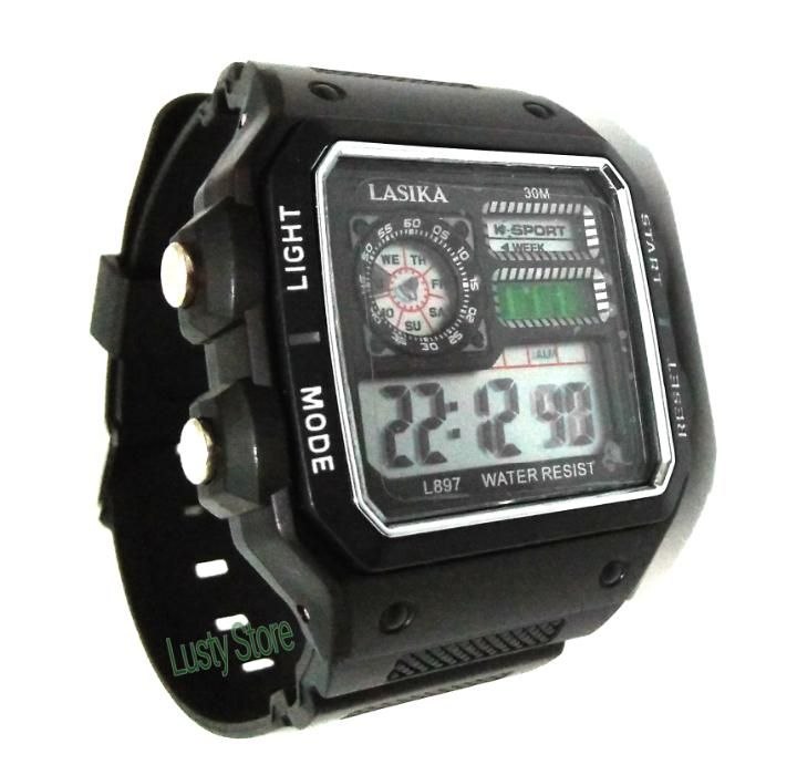Jam Tangan Lasika Model Digital - Jam Tangan Pria/Wanita Strap Rubber ...