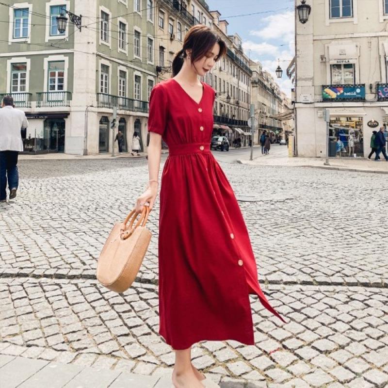 2020 Phiên Bản Hàn Quốc Nổi Danh Trên Mạng Áo Sơ Mi Đầm Mùa Hè Mẫu Mới Ngắn Tay Bó Eo Tôn Dáng Qua Đầu Gối Khí Chất Bó Eo Cổ Chữ V Váy Dài