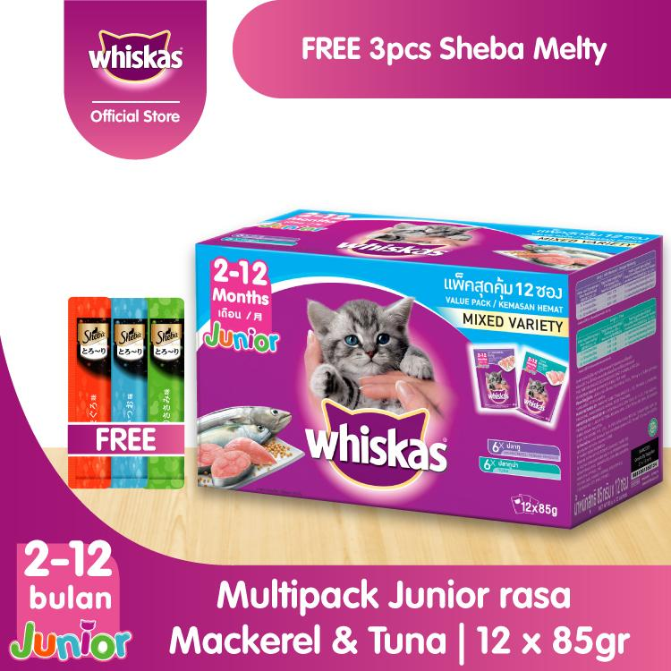 [Beli 1 Gratis 3]1 Whiskas Junior Makanan Kucing rasa Mackerel & Tuna 85gr
