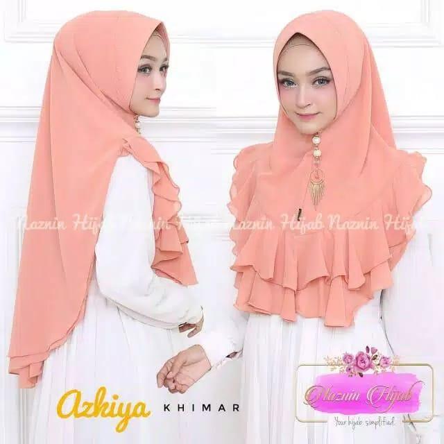 Hijab Khimar Syari Azkiya Jilbab Khimar Syari Kerudung Khimar Syari Instan Panjang Terbaru bahan Sifon Cerutty Rampel Motif Bunga