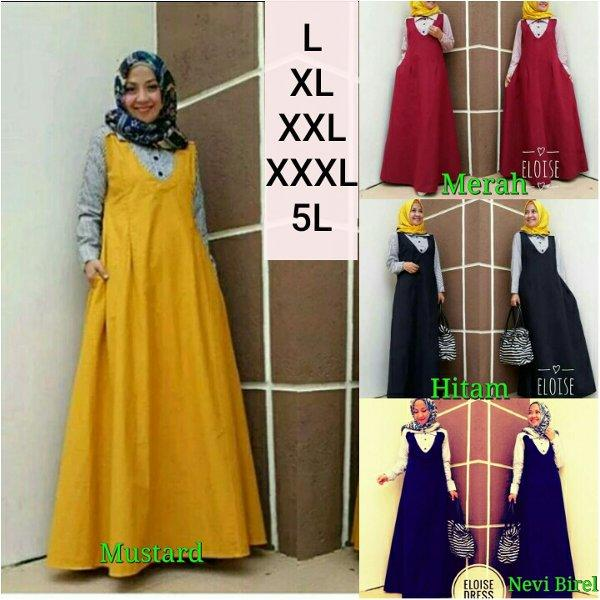 Ukuran Besar Gamis Jumbo Riri Dress ukuran besar warna cerah yang elegan cocok untuk jalan jalan