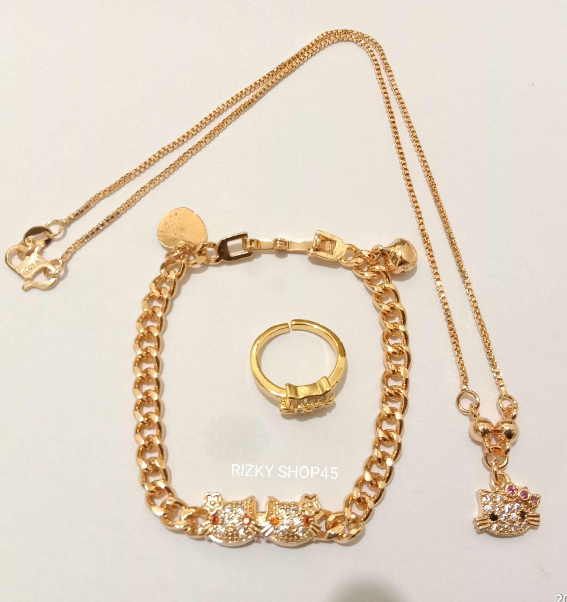 SET kalung gelang anak cincin xuping motif kitty mata gold