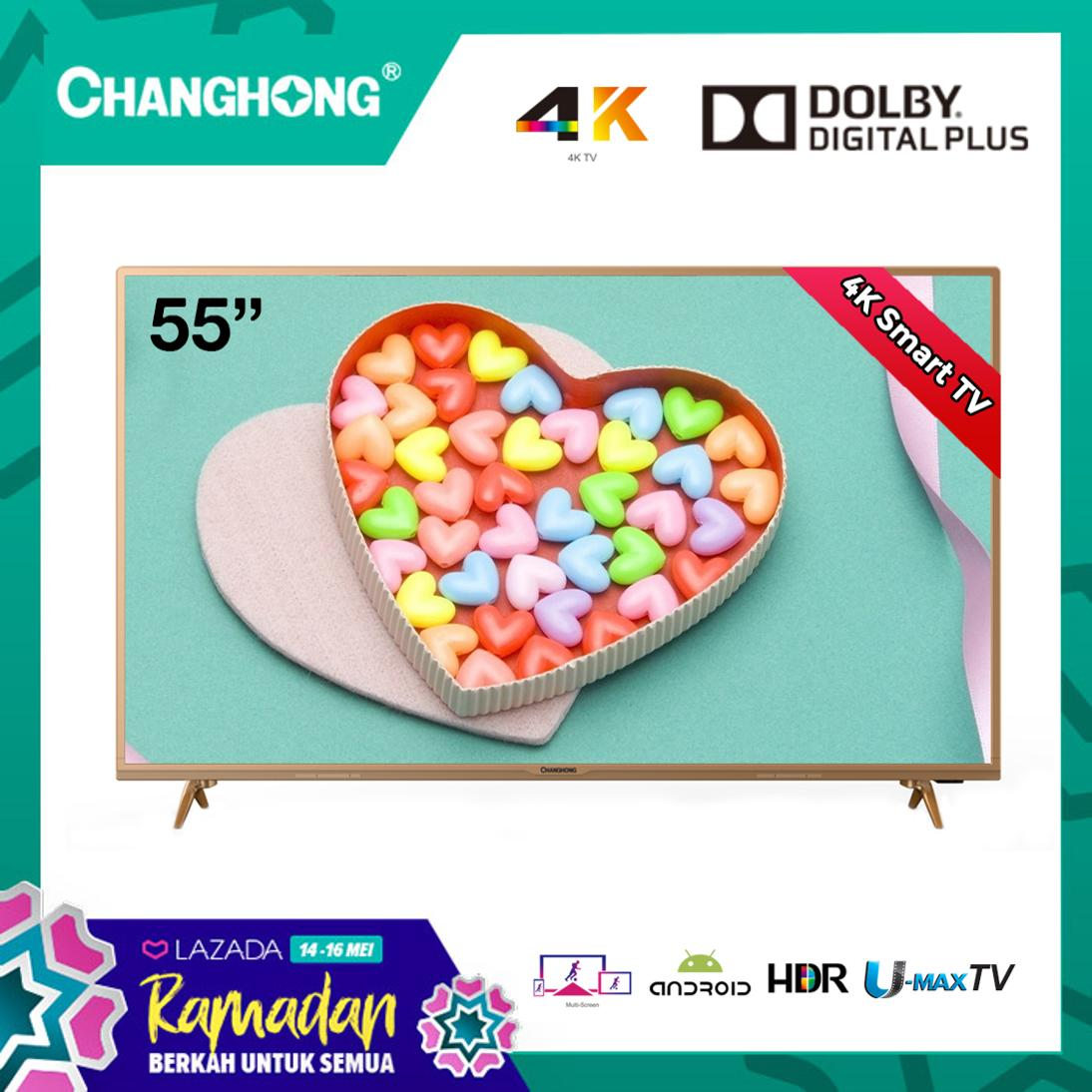 CHANGHONG LED TV 55 Inch - Android Smart TV Digital - 4K Ultra HD TV - USB/HDMI - U55H6 - Garansi Resmi 3 Tahun