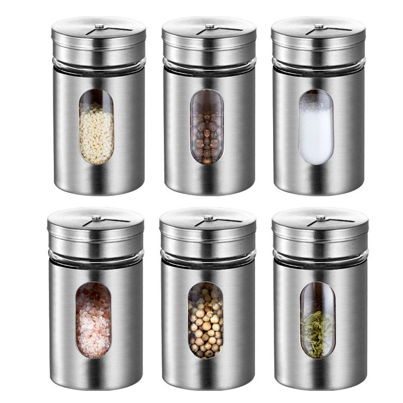 Stainless Steel Seasoning Condiment Jar Glass Spice Pepper Salt Shakers Barbecue Cocoa Sugar Sprays Bottle