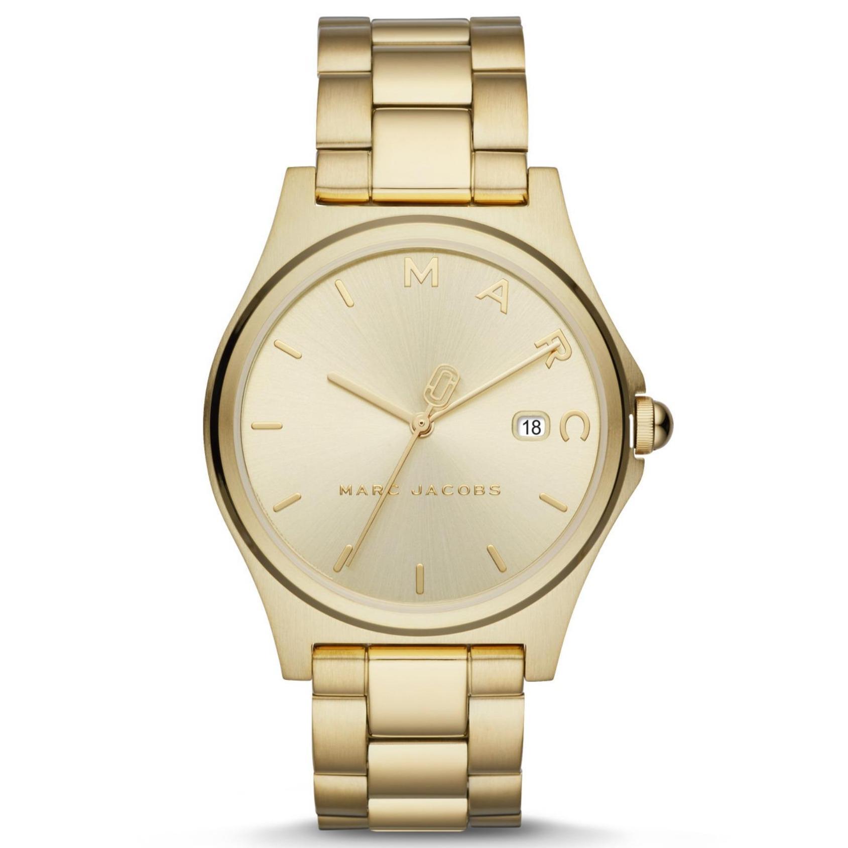 Marc By Marc Jacob Hendry - Gold Dial 36mm - Polished Gold IP Strap - Jam Tangan Analog Wanita - MJ3584 - Original dan Garansi Watch Care