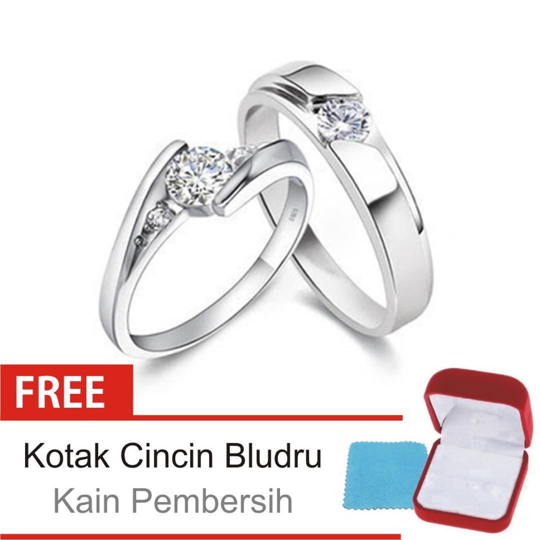 Cincin Kawin Couple Perak Lapis Rhodium D 121 Silver Exclusive Lazada Indonesia