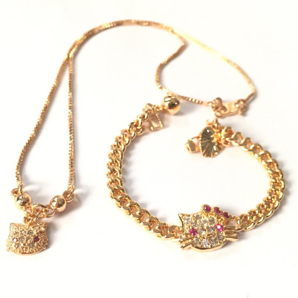 Xuping Set Perhiasan Anak Perempuan Motif Hellokitty - Xuping Gold Kalung 02 Gelang 03 By Tradewear.