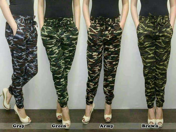 Celana Jogger Cewe Loreng Army / Joger Pant Bahan Strech / Fashion Wanita