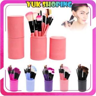 YUKSHOPING R034 Kuas Alat Make Up Kosmetik Tabung 12pcs Brush 12 Set In Tube Pro Rias MakeUp Import thumbnail