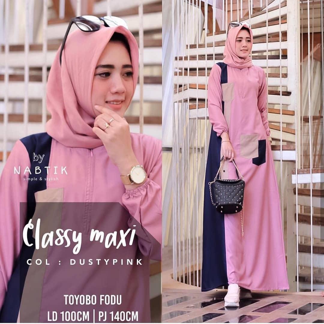 OBM Baju Gamis Classy Maxy Wollycrepe Dress Wanita Muslim Panjang Supplier  Pakaian Dewasa Bandung Murah Kekinian 327aaad1e4