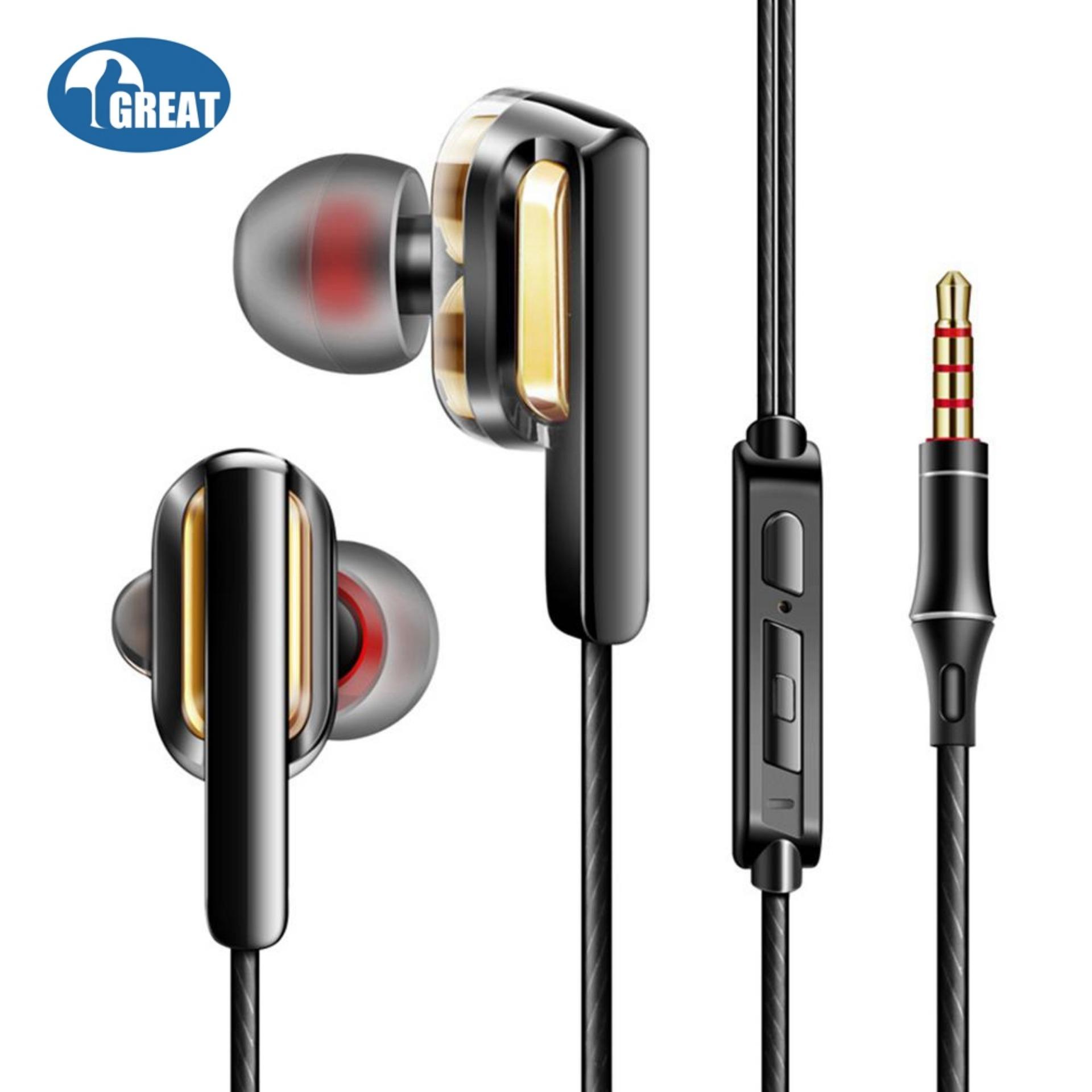 Goodgreat 3.5 Mm Musik Super Bass In Ear Headset Stereo Earphone Alat Pendengar dengan Mikrofon