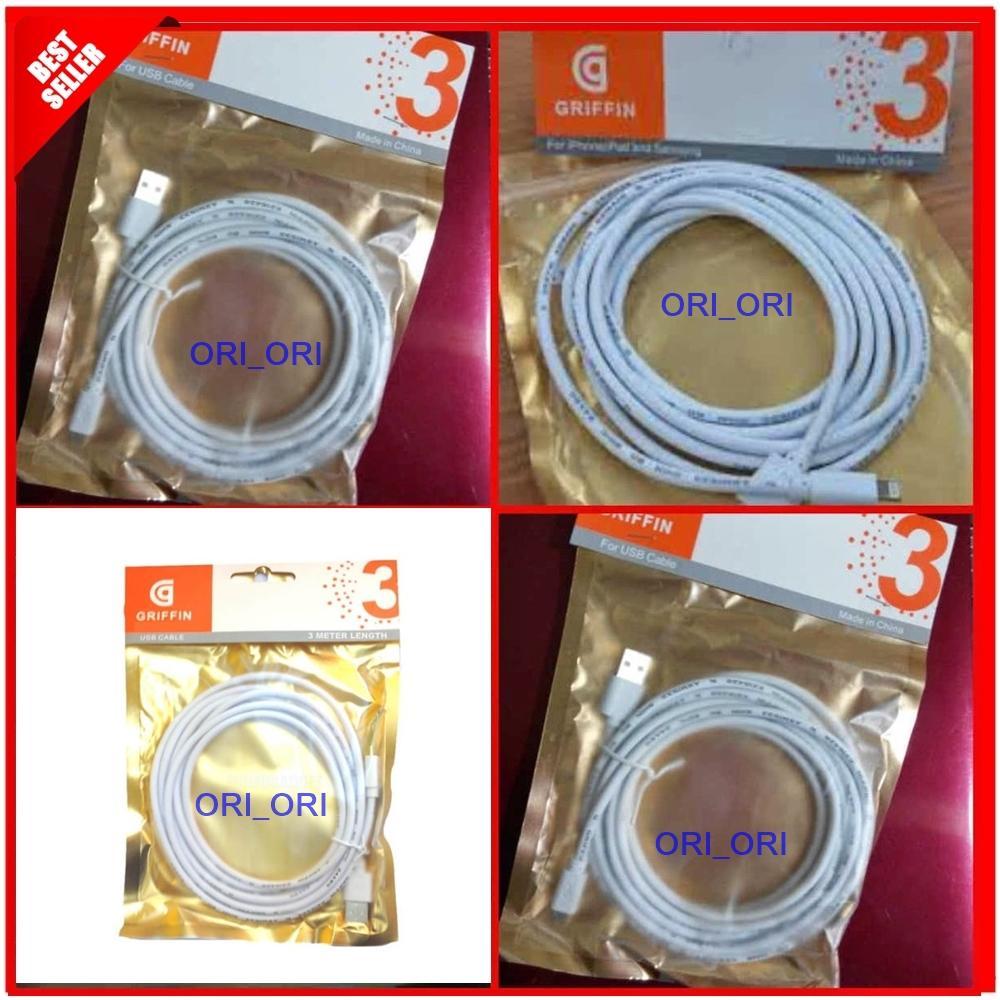 Kabel Data Griffin Micro USB 3 Meter - Putih  ori_ori