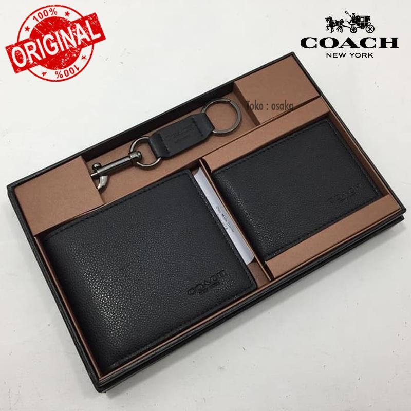 ORIGINAL  Coach Men Wallet Set Dompe Pria Dompet Kartu Gift Set Kado Dompet  Pria 192000c1c5