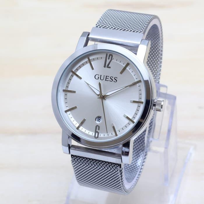 Jam Tangan Wanita / Cewek Guess Magnet Pasir Medium Silver