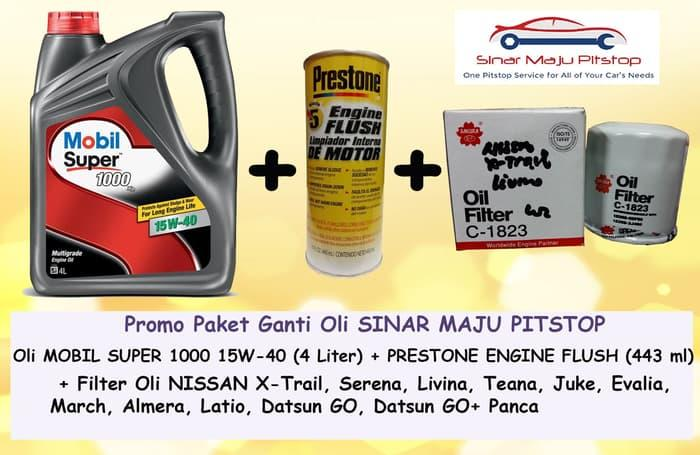 Paket Oli NISSAN EVALIA & MARCH - MOBIL SUPER 15W-40 & Filter & Flush