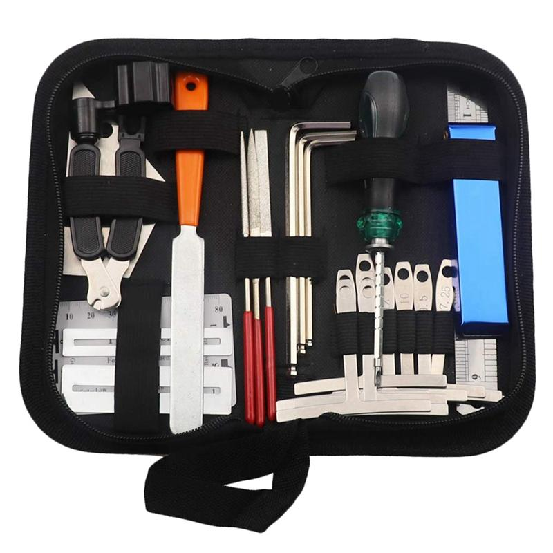 Guitar Tool Kit Repairing Maintenance Tools String Organizer String Action Ruler Gauge Measuring Tool Hex Wrench Set Files Fingerboard Guitar Fret Rocker Leveling