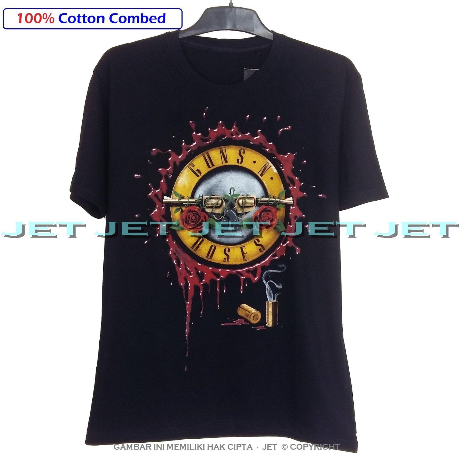 JeT - 100% Cotton Combed 30s - Kaos Pria Wanita GNR Logo Gun N Roses Axel Rose Slash Music Rock Artis - Real Pic - Ready Stock – Kirim Dari Jakarta – Kaos Distro Bandung - Keren - Bahan Bagus - Lembut - Nyaman - Adem - Awet -  Simple Fashion – Hitam