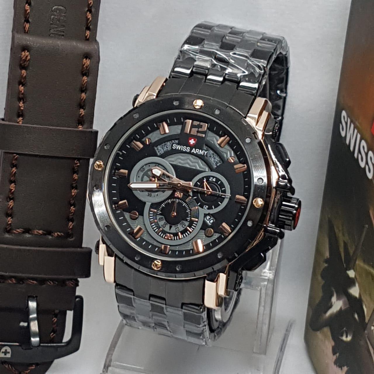 BISA BAYAR DI TEMPAT (COD) Jam Tangan pria Swiss Army ,jam tangan keren Limited edition, tali Rantai(Stainless stell) Crono Dan tanggal aktif, (free Tali Kulit & Box)