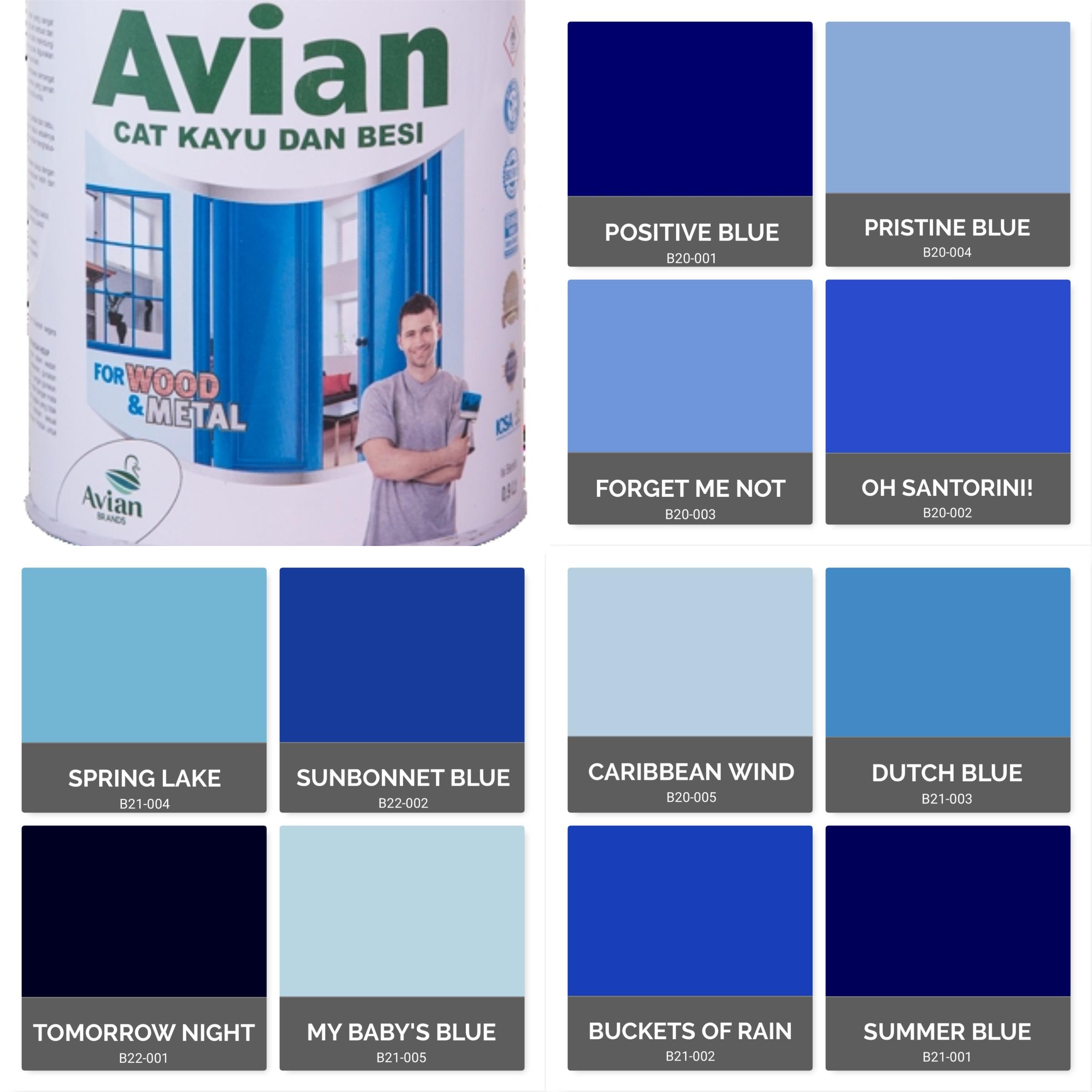 Avian Kayu Dan Besi Avian Cat Tinting Warna Blue Kode B Lazada Indonesia Cat warna biru muda