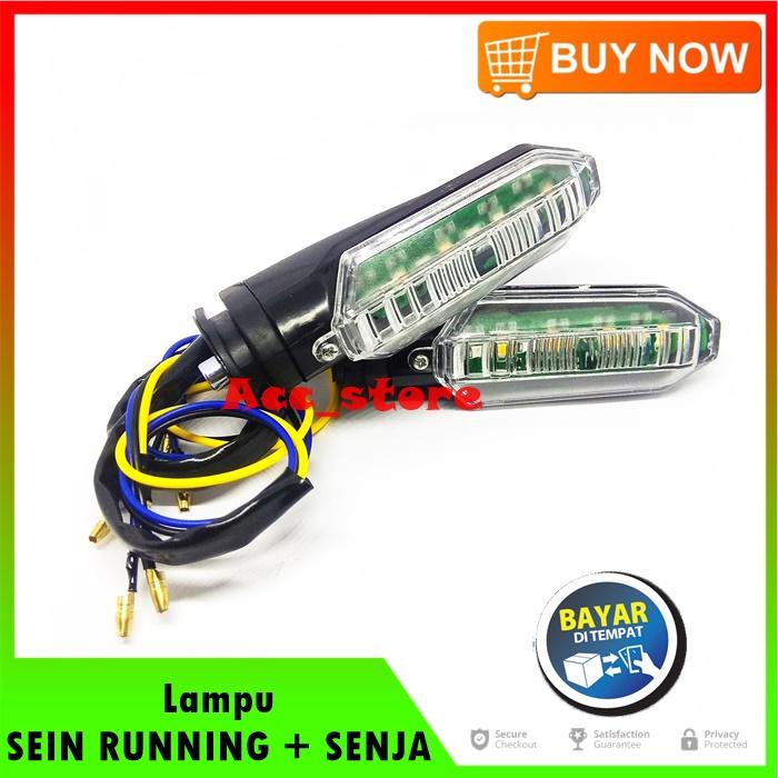 Lampu SEIN RUNNING Plus SENJA 2 Warna Untuk Motor HONDA CB150R NEW / CBR 150 / VARIO 125 LED / VARIO 150 LED pnp - BIRU & KUNING