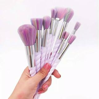 Kuas Makeup Brush 10 Set Make Up Set isi 10 Brush Unicorn Purple K080 thumbnail
