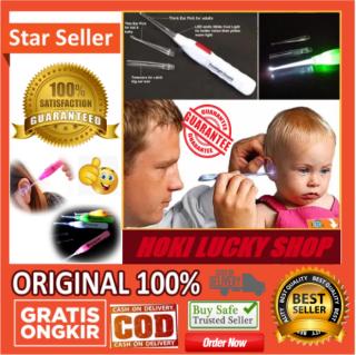 LUCKY COD - Pembersih Telinga Earpick Korek Kuping Lampu Flashlight LED Ear pick LED +++ BONUS POPSOCKET HANDPHONE 1 PCS thumbnail