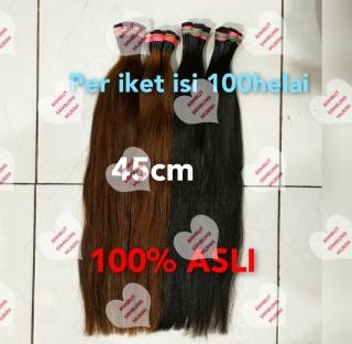 Rambut Sambung Panjang 45cm 50helai RAMBUT ASLI 100% thumbnail