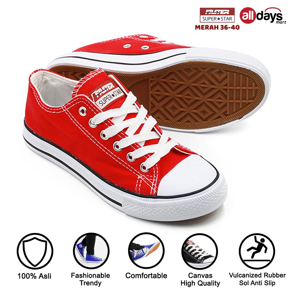 Faster Sepatu Sneakers Kanvas Wanita 1603-03 - Merah/Putih Size 36-40