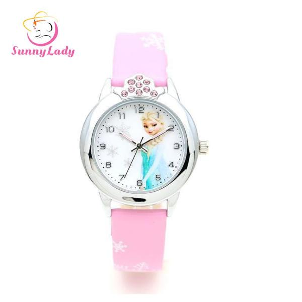 [RAYA SALE] Cartoon Frozen Wrist Watch Casual Leather Band Quartz Watch for Kids Boys Girls Malaysia
