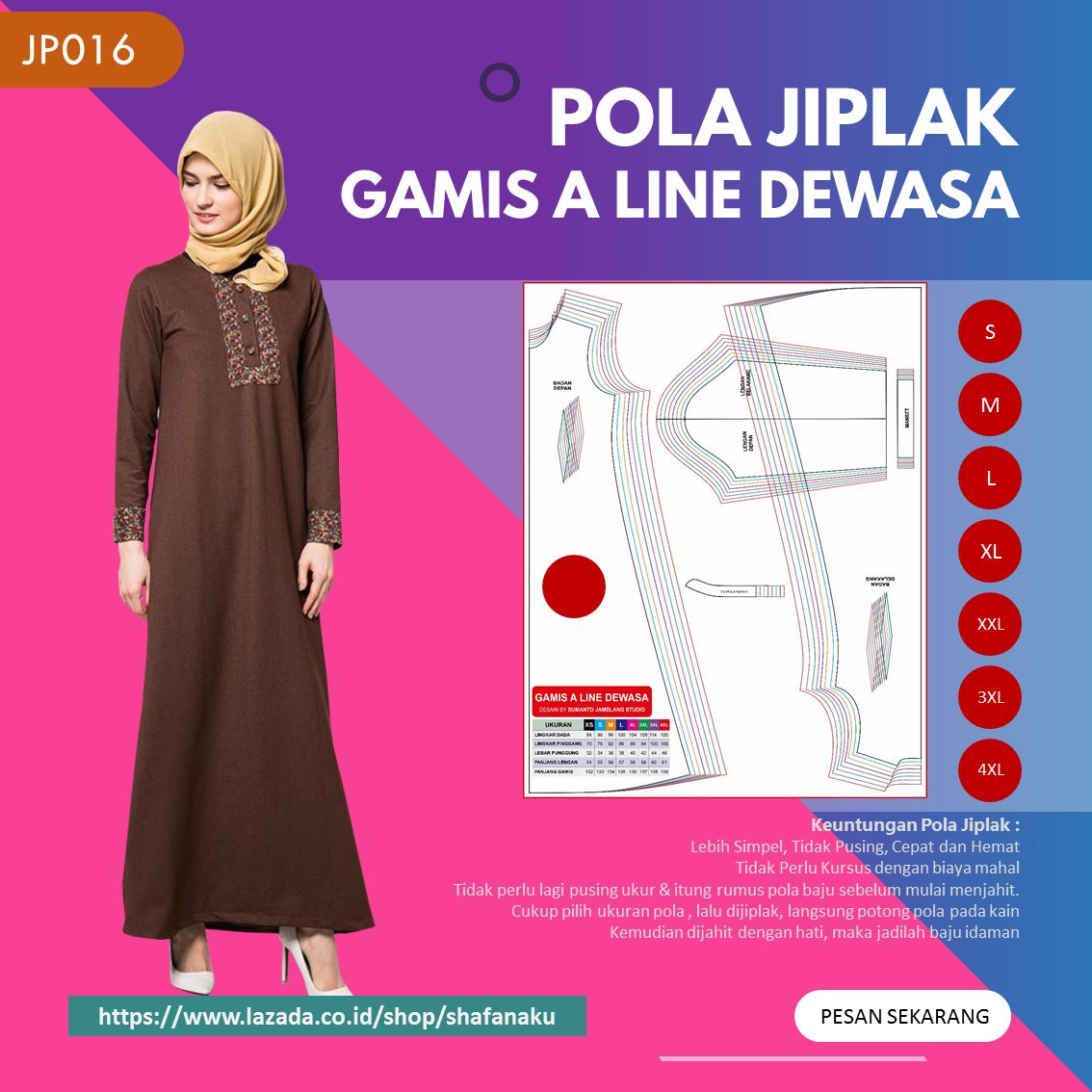 Pola Jiplak Gamis A Line Dewasa 8 In 1 Jp016 Lazada Indonesia