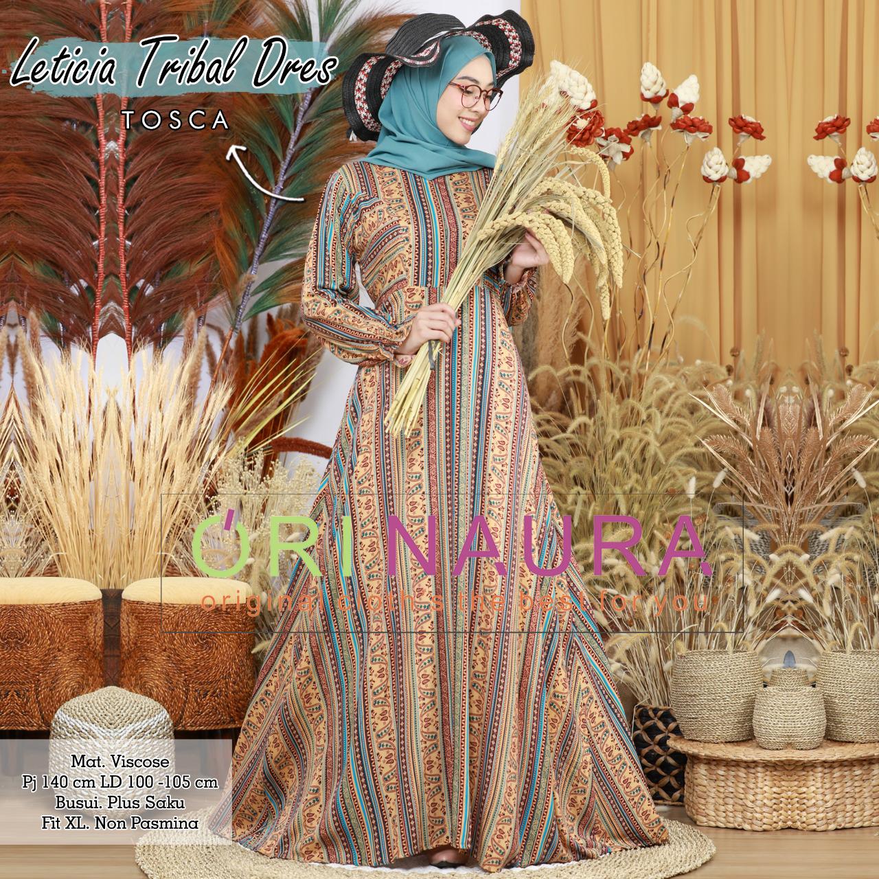 COD Realpict Gamis Leticia Tribal Dress Viscose Busui Saku | Baju Gamis Batik Terbaru | Model Gamis Brokat Modern 2020