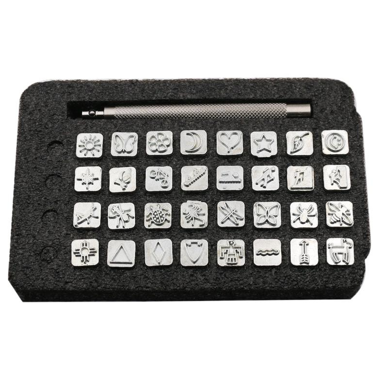 Diy Leather Tool 33Pcs Set Leather Carved Leather Print Rush Indian Style Pattern Print Rush