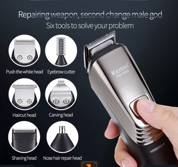 Qooiu Kemei KM-5900 6in1 Rechargeable Nose Hair Trimmer Precision Grooming Men Beard Clipper Shaver Washable Titanium Hair Clipper Electric Shaver for men