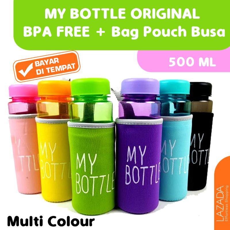 Promo - Botol Minum MY BOTTLE Full Warna ORIGINAL BPA FREE + Bag Pouch Busa