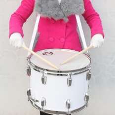 14in Marching Drum Stainless Steel & Maple Wood Body PVC Drumhead with Sticks Shoulder Strap Key for Student Professional Drummer - intl