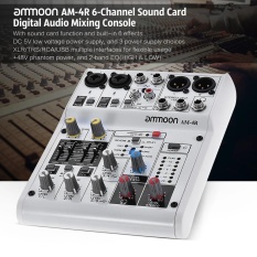 ammoon AM-4R 6-Channel Sound Card Digital Audio Mixer Mixing Console Built-in 48V Phantom Power Support with Power Adapter USB Cables for Recording DJ Network Live Broadcast Karaoke