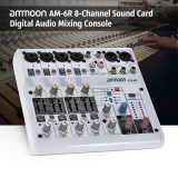 Review Ammoon Am 6R 8 Channel Sound Card Digital Audio Mixer Mixing Console Built In 48V Phantom Power Support With Power Adapter Usb Cables For Recording Dj Network Live Broadcast Karaoke Intl