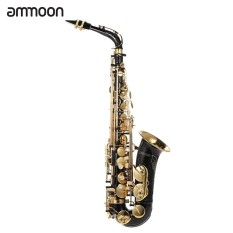 ammoon bE Alto Saxophone Brass Lacquered Gold E Flat Sax 82Z Key Type Woodwind Instrument with Cleaning Brush Cloth Gloves Strap Padded Case - intl