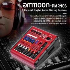 ammoon PMR406 4-Channel Digital Audio Mixer Mixing Console with Power Amplifier Function 48V Phantom Power USB Interface for Recording DJ Stage