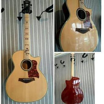 Gitar Akustik Elektrik Taylor Custom Spruce Fretboard Maple Natural High Quality Free Ongkir