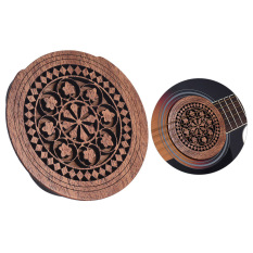 Guitar Wooden Soundhole Sound Hole Cover Block Feedback Buffer Mahogany Wood for EQ Acoustic Folk Guitars ^ - intl