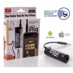 iRig AmpliTube Guitar Interface Converter Adapter for iPhone iPod Touch iPad iOS Alat Penghubung Ios dengan Jack Gitar Bass Amplifier Plug In and Paly Aksesoris Instrumen Musik Music Instrument No Battery Simpel Mudah Support Recording - Hitam