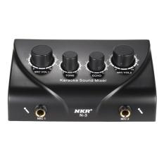Karaoke Suara Mixer Dual MIC Input dengan Kabel-Internasional